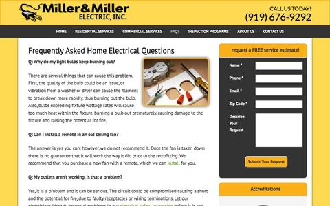 Screenshot of FAQ Page millerandmillerelectric.com - Frequently Asked Electrical Questions | Miller & Miller Electric - captured Feb. 13, 2016