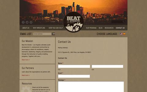 Screenshot of Contact Page beatthestreets-la.org - Contact Us «  Beat The Streets LA - Building Tomorrow's Leaders One Match At A Time - captured Oct. 5, 2014