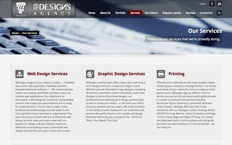 Screenshot of Services Page a-designs.net - @Designs Agency         | Our Services - captured Oct. 7, 2014
