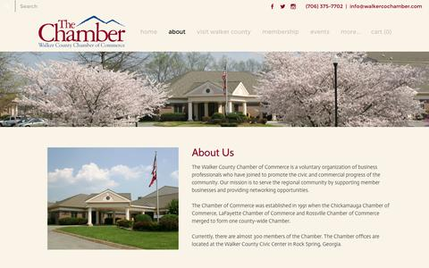 Screenshot of About Page walkercochamber.com - About Us - Walker County Chamber of Commerce - captured Feb. 13, 2016