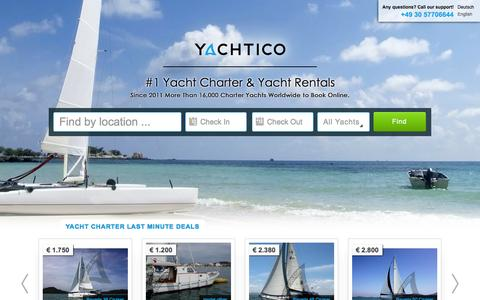 Screenshot of Home Page yachtico.com - Yacht Charter & Yacht Rentals Worldwide - YACHTICO.com - captured Sept. 17, 2014