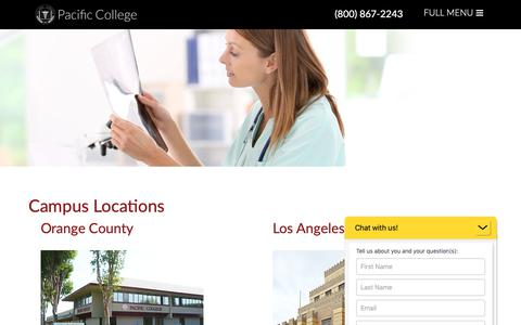 Screenshot of Locations Page pacific-college.edu - Campus Locations | Pacific College - captured Nov. 4, 2018
