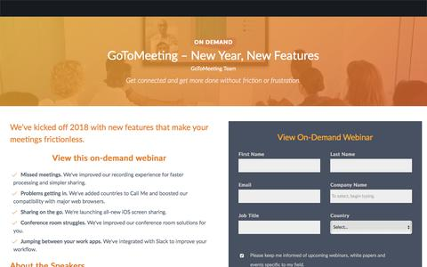 Screenshot of Landing Page gotomeeting.com - GoToMeeting – New Year, New Features - captured Oct. 9, 2019