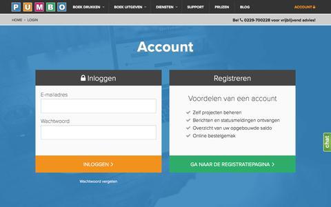 Screenshot of Login Page pumbo.nl - Inloggen - Pumbo.nl - captured July 18, 2016