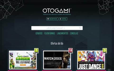 Screenshot of Home Page otogami.com - La web para buscar y comprar juegos baratos y al mejor precio   Otogami - captured Sept. 17, 2014