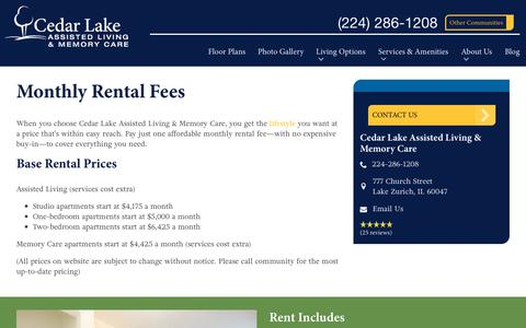 Screenshot of Pricing Page spectrumretirement.com - Monthly Rental Pricing   Cedar Lake Assisted Living & Memory Care - captured Oct. 23, 2018