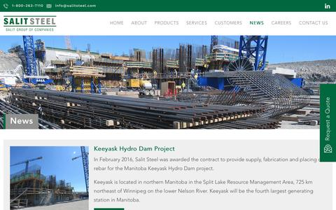 Screenshot of Press Page salitsteel.com - Salit Steel | Stay Connected with Us | News - captured May 27, 2017