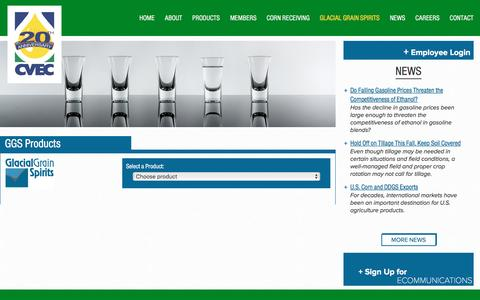 Screenshot of Products Page cvec.com - Products - Chippewa Valley Ethanol Company - captured Nov. 5, 2016