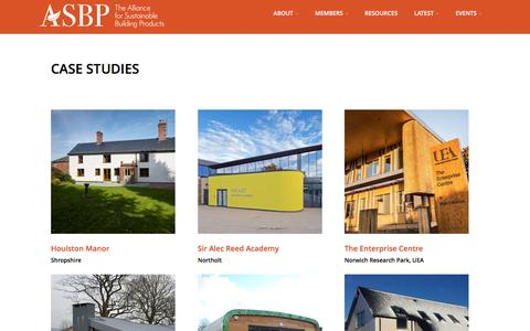Screenshot of Case Studies Page asbp.org.uk - Case Studies – The Alliance for Sustainable Building Products - captured Nov. 20, 2016
