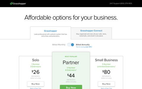 Screenshot of Pricing Page grasshopper.com - Grasshopper Plans and Pricing | Phone System and Unified Inbox - captured April 9, 2019