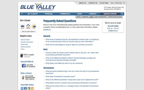 Screenshot of FAQ Page bvia.com - Frequently Asked Questions | Blue Valley Insurance Agency in Overland Park Kansas - captured Oct. 5, 2014