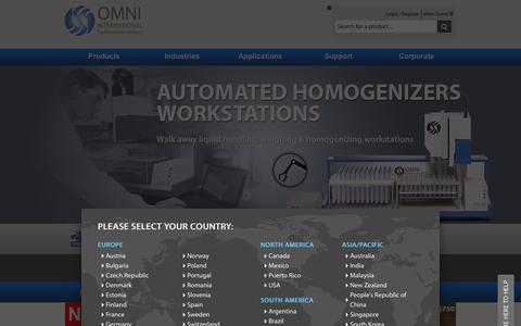 Screenshot of Home Page omni-inc.com - The Homogenizer Company Home Page OMNI Inc The Homogenizer Company - captured Jan. 17, 2016