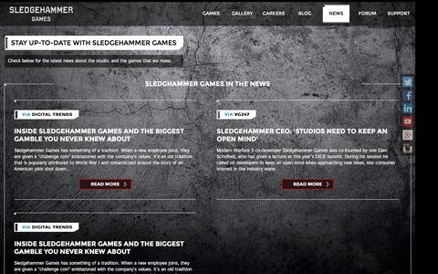 Screenshot of Press Page sledgehammergames.com - Sledgehammer Games || News - captured Feb. 5, 2016