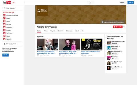 Screenshot of YouTube Page youtube.com - AtriumFamilyDental  - YouTube - captured Oct. 23, 2014