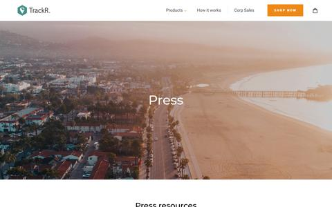 Screenshot of Press Page thetrackr.com - Welcome to the TrackR newsroom | TrackR - captured March 5, 2018