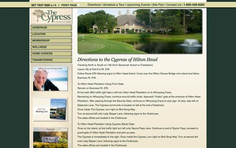 Screenshot of Maps & Directions Page thecypressofhiltonhead.com - Cypress of Hilton Head - Directions - captured Oct. 26, 2014