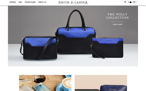 Screenshot of Home Page smithandcanova.co.uk - Handbags, Purses, Hip Flasks - Smith & Canova - captured Nov. 30, 2016