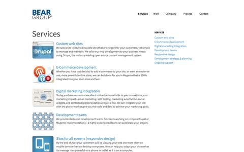 Screenshot of Services Page beargroup.com - Drupal custom web development, Magento e-commerce website development services | Bear Group - Web Development - captured Oct. 29, 2014