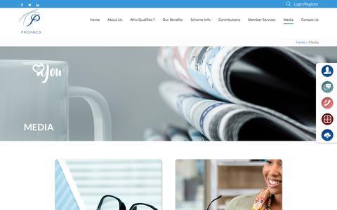 Screenshot of Press Page profmed.co.za - Profmed Media | Profmed Medical Aid Scheme - captured July 23, 2018