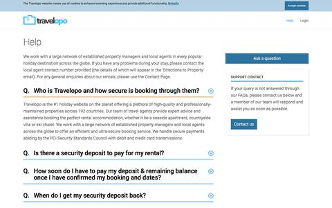Screenshot of FAQ Page travelopo.com - Do you need help with Your Travelopo Booking? - captured Sept. 22, 2018