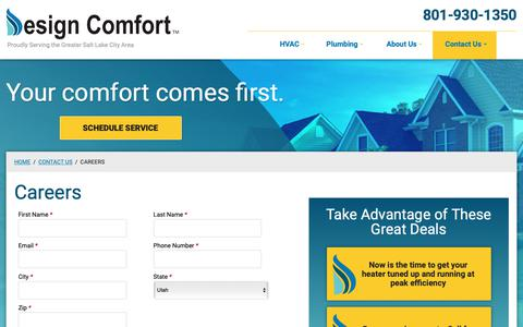 Screenshot of Jobs Page designcomfortco.com - Careers   Design Comfort - captured Oct. 8, 2018