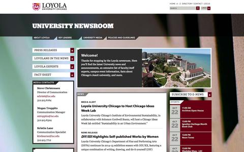 Screenshot of Press Page luc.edu - University Newsroom: Loyola University Chicago - captured Oct. 22, 2014