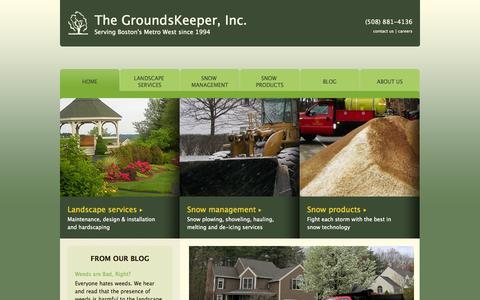 Screenshot of Home Page groundsinc.com - Massachusetts Landscaping, Snow Removal, Lawn Maintenance for residential, commercial, HOA, retail properties | The GroundsKeeper, Inc. - captured Oct. 6, 2014