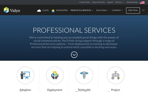 Screenshot of Services Page vidyo.com - Professional Services for Successful Video Conferencing Deployments - captured March 4, 2017