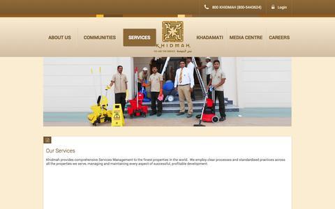 Screenshot of Services Page khidmah.com - Services - captured Sept. 30, 2014