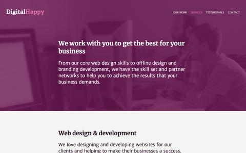 Screenshot of Services Page digitalhappy.com - Barcelona web design and development, branding and online marketing consultants | DigitalHappy - captured Aug. 7, 2018
