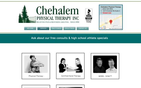 Screenshot of Services Page chehalempt.com - Chehalem Physical Therapy - Outpatient Therapy Services - captured Sept. 28, 2018