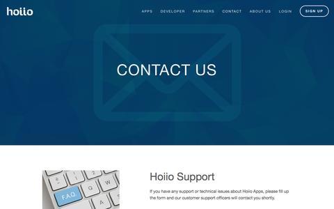 Screenshot of Support Page hoiio.com - Support — Hoiio - captured Nov. 10, 2016