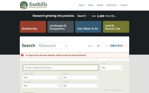 Screenshot of Maps & Directions Page foothillsri.ca - | Foothills Research Institute - captured Oct. 6, 2014