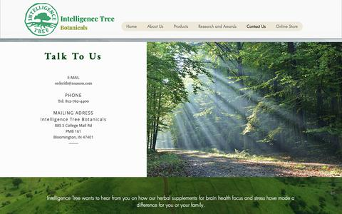 Screenshot of Contact Page intelligencetree.com - Contact-us   S   Intelligence Tree Botanicals - captured Oct. 12, 2018