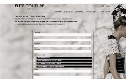 Screenshot of Signup Page elitecouture.co.uk - Exclusive Handbag Collection to Rent - captured Oct. 1, 2014