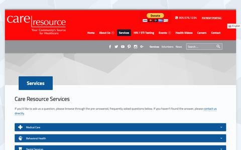 Screenshot of Services Page careresource.org - Services - Care Resource Community Health Centers, Inc. - captured Oct. 26, 2018