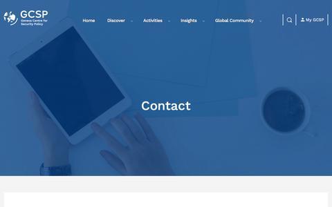 Screenshot of Contact Page gcsp.ch - Contact | GCSP - captured July 10, 2019