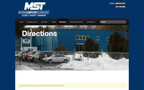 Screenshot of Maps & Directions Page mst-home.com - Directions | Material Sampling Technology - Accuracy – Integrity – commitment - captured Oct. 4, 2014
