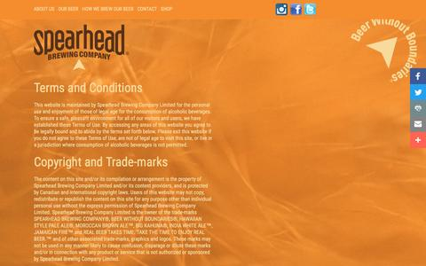 Screenshot of Terms Page spearheadbeer.com - Terms   Spearhead Brewing Company, Beer Without Boundaries - captured Dec. 3, 2016