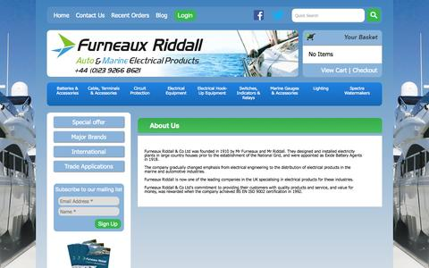 Screenshot of About Page furneauxriddall.com - About Us | Marine Electrical Suppliers - captured Sept. 23, 2014