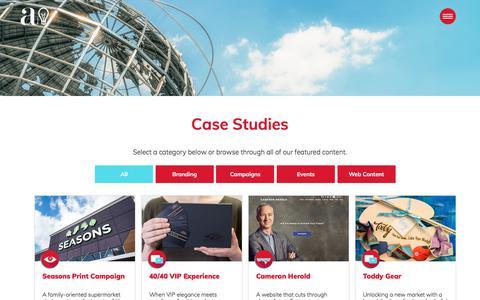 Screenshot of Case Studies Page advantages.net - Advantages | Design & Marketing - captured Dec. 1, 2019