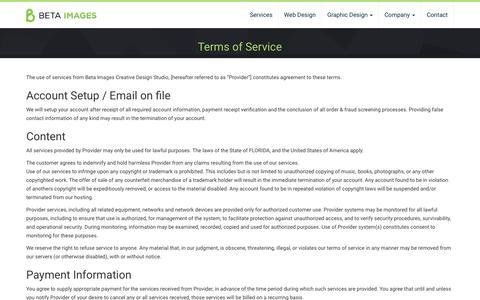 Screenshot of Terms Page betaimages.com - Terms of Service - Beta Images Design Studio - captured Nov. 22, 2016