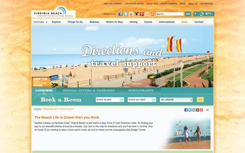 Screenshot of Maps & Directions Page visitvirginiabeach.com - Get To Virginia Beach by Air, Land or Sea - Virginia Beach CVB - captured Sept. 19, 2014