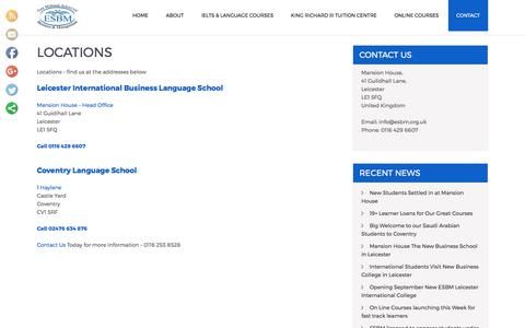Screenshot of Locations Page esbm.org.uk - Locations - ESBM - Language Courses – 0116 253 8528 - captured July 13, 2017