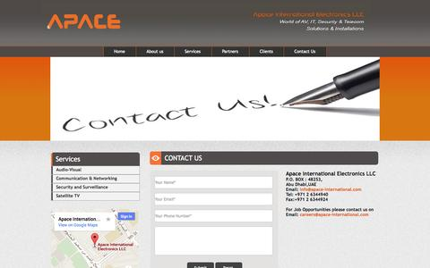 Screenshot of Contact Page apace-international.com - Thanks to Visit Apace International|apace-international.com|Naseem Electronics LLC - captured Oct. 4, 2014