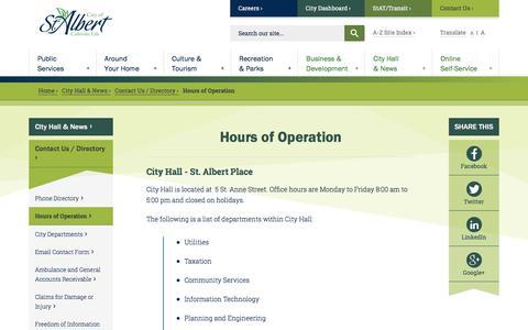 Screenshot of Hours Page stalbert.ca - Hours of Operation | City of St. Albert - captured June 27, 2017