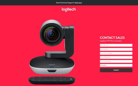 Screenshot of Landing Page logitech.com - Logitech PTZ Pro 2 Camera | Contact Us - captured Sept. 11, 2017
