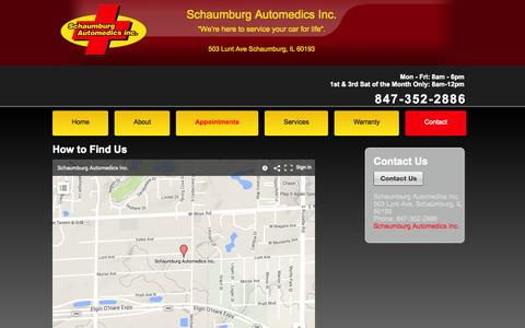 Screenshot of Contact Page schaumburgautomedics.com - Schaumburg Automedics Inc. | Auto Repair Schaumburg IL | Engine Repair Elk Grove Village IL | Brake Repair 60193 | Transmission Repair 60007 | Auto Electrical Service Schaumburg IL - captured Oct. 4, 2014