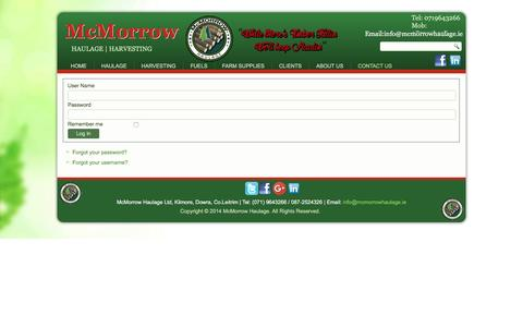 Screenshot of Support Page mcmorrowhaulage.ie - McMorrow Haulage - Support - captured Aug. 10, 2016