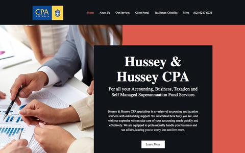 Screenshot of Home Page hussey.com.au - Home   HUSSEY & HUSSEYCPA - captured Sept. 19, 2017